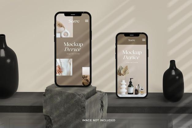 Mockup van vooraanzicht realistische staande smartphoneschermen