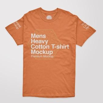 Mockup van zwaar katoenen t-shirt voor heren