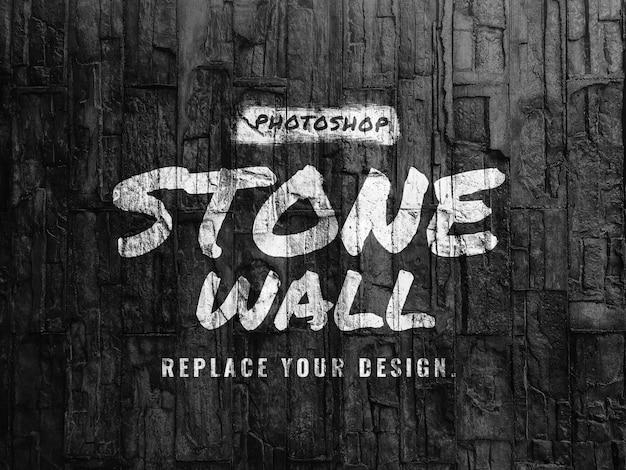 Mockup van zwarte stenen muur