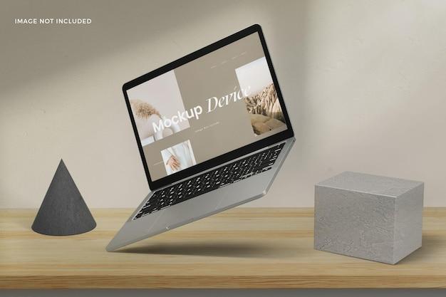 Mockup van zwevend app-scherm voor laptops