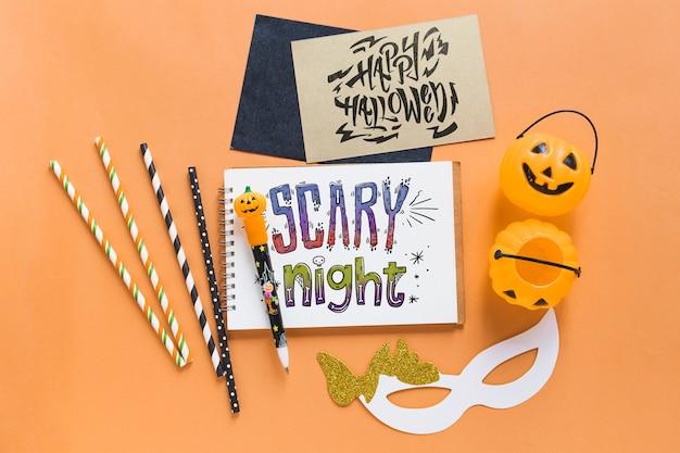 Mockup de varios elementos de halloween