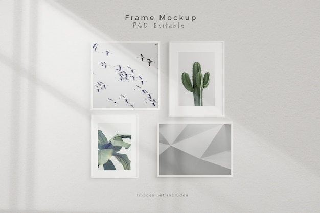 Mockup vier lege fotolijst mockup in lege witte muur kamer