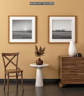 Mockup vierkante fotolijst op vintage kamer met warme tinten