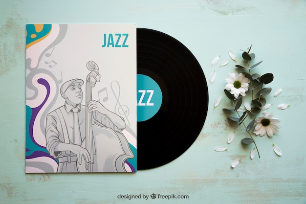 Mockup de vinilo y folleto de jazz