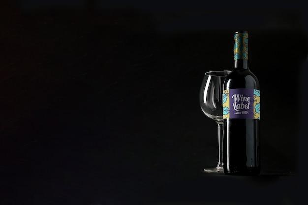 Mockup de vino con copyspace