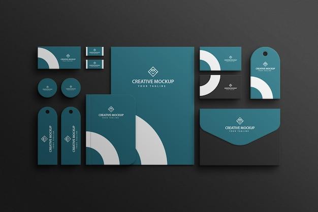 Mockup de vista corporativa de marca de papelería premium psd