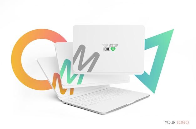 Mockup voor 3d-laptopscherm