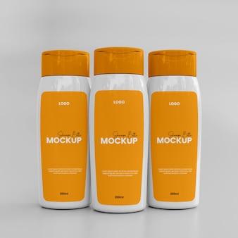 Mockup voor 3d-plastic shampoopot