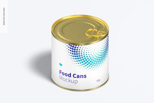 Mockup voor 60 g voedselblik, isometrische weergave