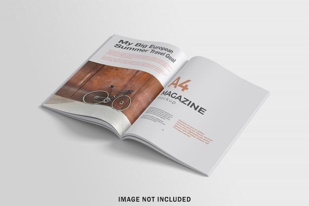 Mockup voor a4-tijdschrift geopend
