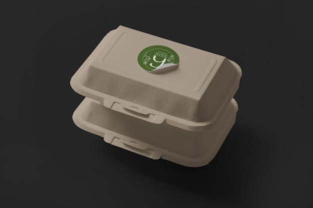 Mockup voor afhaalmaaltijdencontainer Premium Psd