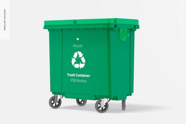 Mockup voor afvalcontainer, linkeraanzicht