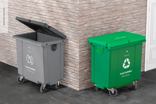 Mockup voor afvalcontainers, geopend en gesloten