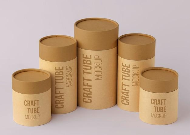 Mockup voor ambachtelijke papieren cilinders