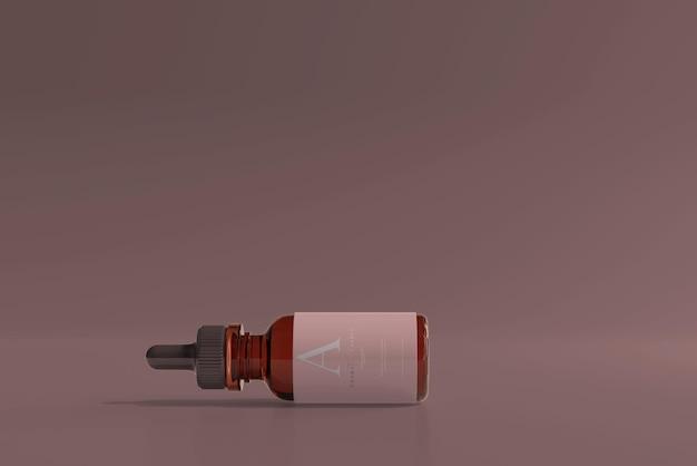 Mockup voor amberkleurige glazen druppelfles