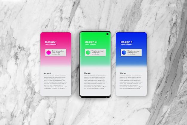 Mockup voor app-presentatie met smartphone van 3 pagina's