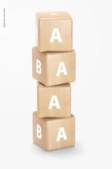Mockup voor baby houten blokken