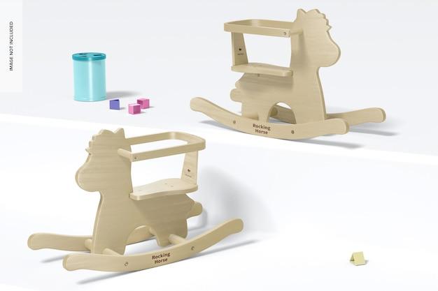 Mockup voor baby houten hobbelpaarden