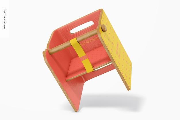 Mockup voor baby houten stoel, vallend