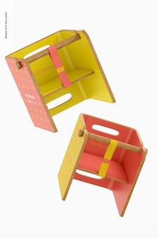 Mockup voor baby houten stoelen, drijvend