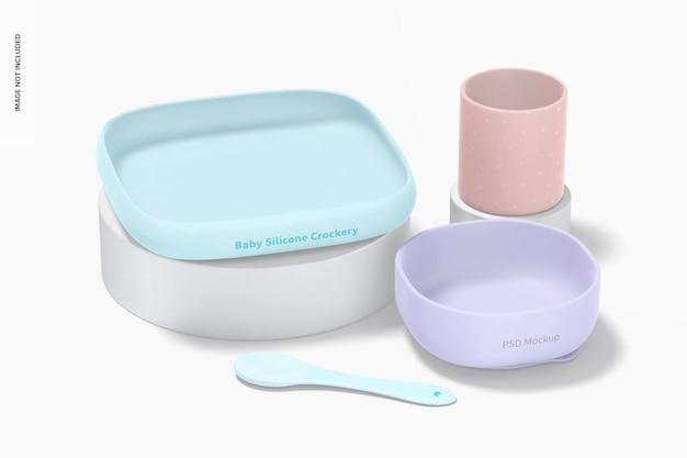 Mockup voor baby-siliconen servies, perspectief