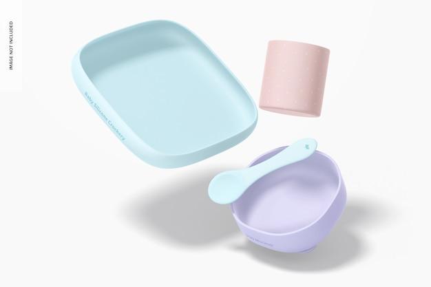 Mockup voor baby-siliconen servies, vallend