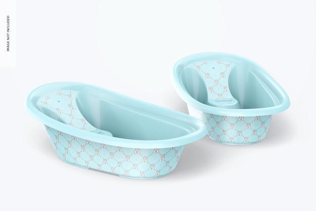 Mockup voor babybadkuip, drijvend