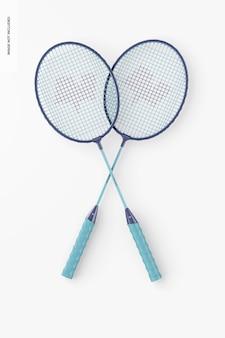 Mockup voor badmintonrackets, bovenaanzicht