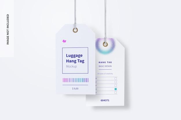 Mockup voor bagagelabels met touwtjes