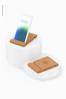 Mockup voor bamboe smartphonehouders