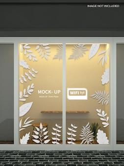 Mockup voor banner met glazen wand