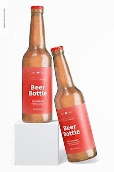 Mockup voor bierflessen, leunend