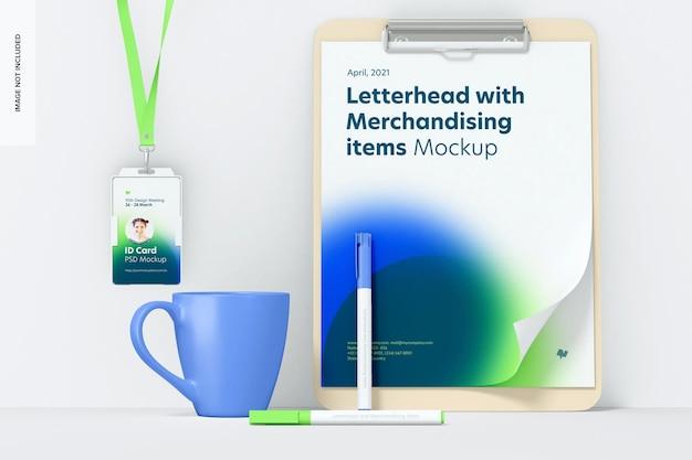 Mockup voor briefpapier en merchandisingartikelen, vooraanzicht