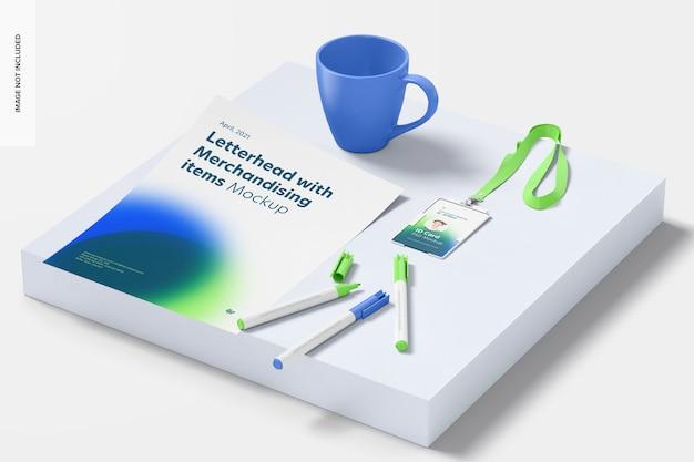 Mockup voor briefpapier en merchandisingartikelen