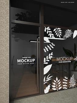Mockup voor café glazen deur