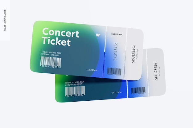 Mockup voor concertkaartjes, drijvend