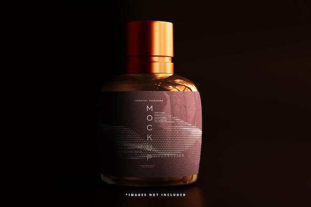 Mockup voor cosmetische flessen van amberkleurig glas