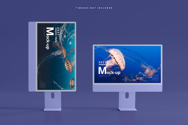 Mockup voor desktopcomputerschermen