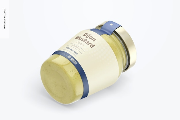 Mockup voor dijon-mosterdflessen van 7,5 oz, isometrisch rechts aanzicht