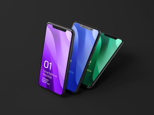 Mockup voor donkere mobiele apparaten