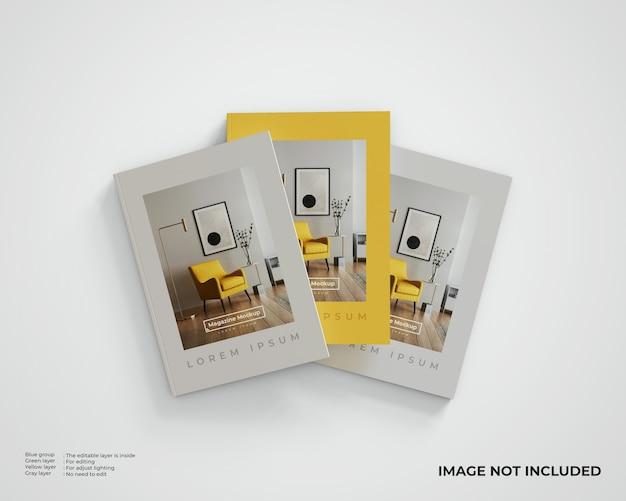 Mockup voor drie redactionele tijdschriften, bovenaanzicht