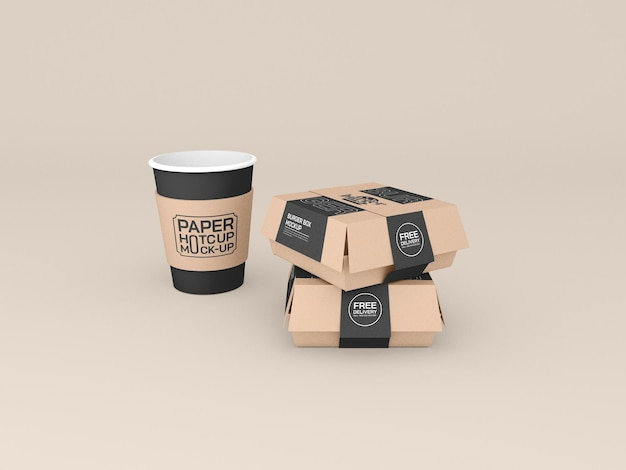 Mockup voor fastfoodcontainers