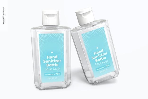 Mockup voor flessen van 60 ml met handdesinfecterend middel