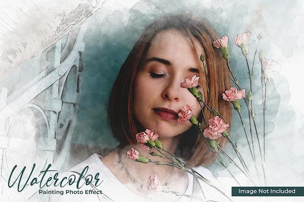 Mockup voor foto-effect met waterverfschilderij Premium Psd