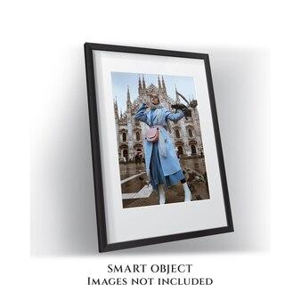 Mockup voor foto's met houten frame