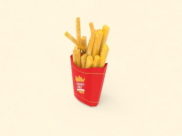 Mockup voor frietverpakking