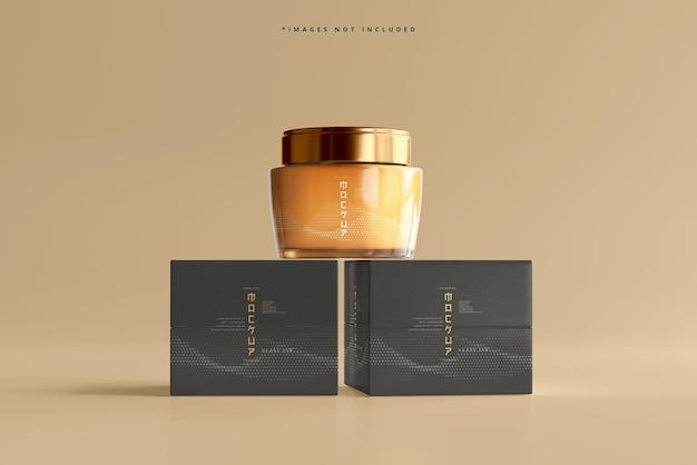 Mockup voor glazen cosmetische pot en doos