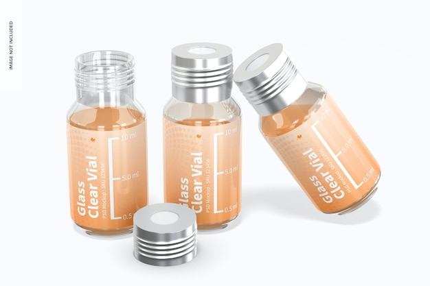 Mockup voor glazen doorzichtige flesjes van 10 ml