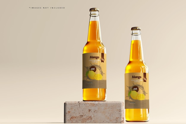 Mockup voor glazen drankflessen