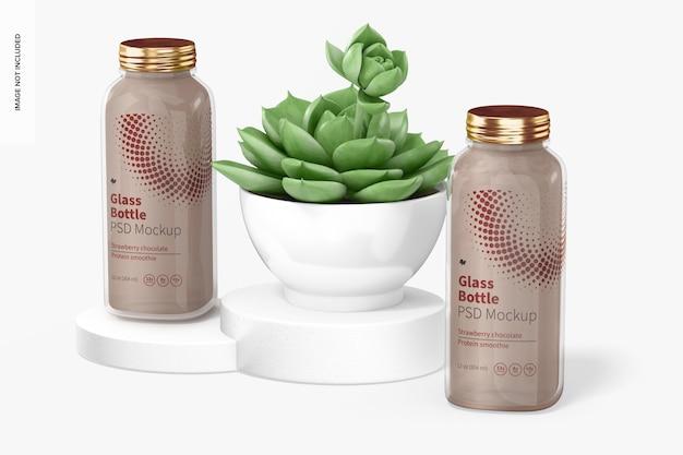 Mockup voor glazen flessen van 12 oz, drijvend